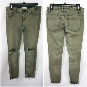 Free People Green Distressed Skinny Jeans Size 27